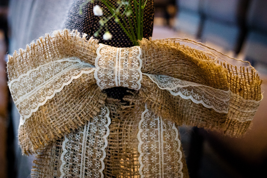 Burlap and lace wedding details in Owatonna