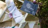 Wedding hankies for happy tears at Red bend Nature Center in Faribault