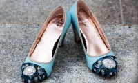 Blue Wedding shoes at James J. Hill Reference Library, Saint Paul