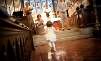 Flower girl at the chapel Shattuck St Mary's in Faribault, Minnesota