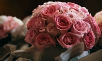 Pink roses arriving at the Crowne Plaza for a wedding in Minneapolis