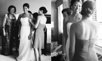 Bride getting ready at the Crowne Plaza Hotel in Minneapolis