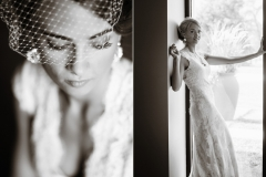 Bridal portraits in a lace Maggie Sottero wedding dress