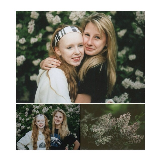 A little polaroid joy. Belle and Bette in the garden. #film, #mamiya645 #polaroid #paquinstudio #lilac #spring #owatonna #fujifilm