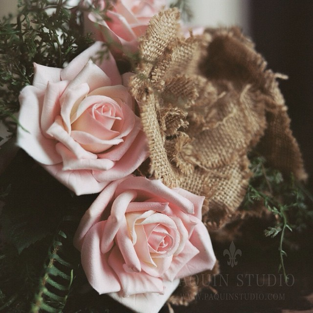 Burlap and Roses with the RB67 -- testing minimum focus with the 127mm open. Love it!